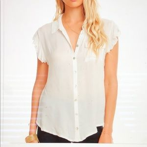 NWT Chaser white gauze flutter sleeve button down
